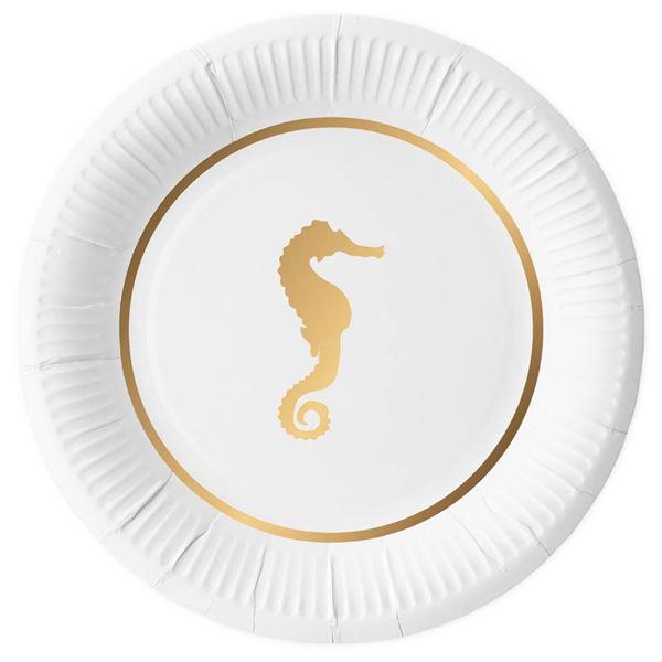 Seepferdchen - 10 Pappteller Weiß