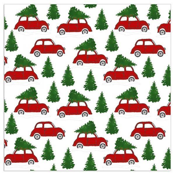 20 Servietten Weihnachtsauto - Weiß