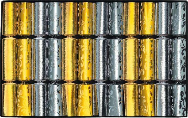 12 Knallbonbons Silber / Gold 18cm