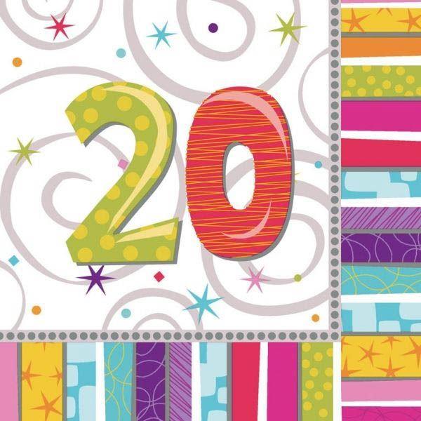 Radiant Birthday - 20. Geburtstag 16 Servietten