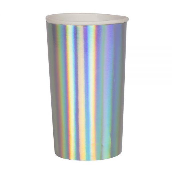 Meri Meri - 8 Silber-Irisierende Longdrink Pappbecher
