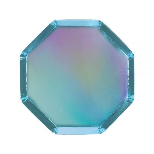 Meri Meri - 8 Blau-Irisierende Pappteller
