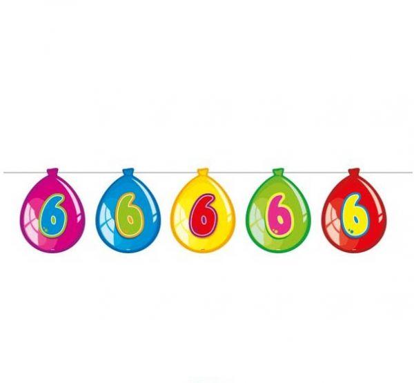 Luftballon-Wimpelkette zum 6. Geburtstag