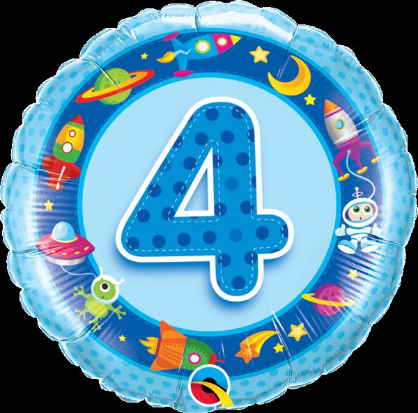 Folienballon 4. Geburtstag Weltraum 45cm