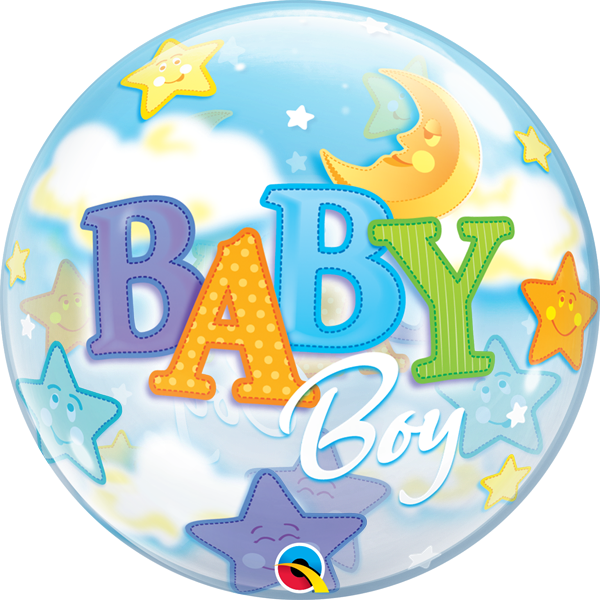 Bubble Ballon Baby Boy Mond & Sterne 56cm