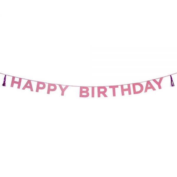 Say It With Glitter - Happy Birthday Pink-Glitzer-Girlande