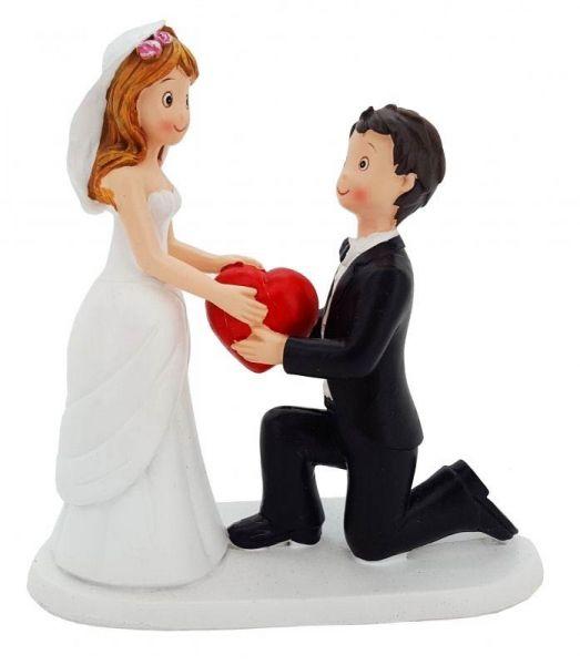 Aufsteller Brautpaar mit Herz 17cm