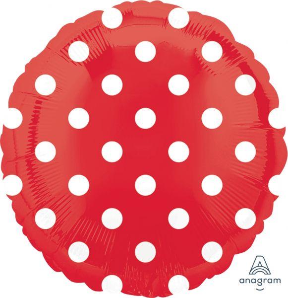 Folienballon Rot Polka Dots 43cm