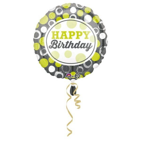 Folienballon Happy Birthday Grün & Silber 43cm