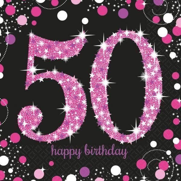 Sparkling Celebration Pink - 50. Geburtstag 16 Servietten