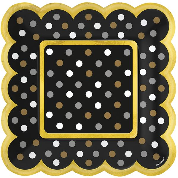 Paper Minis - 36 Quadratische Teller Schwarz