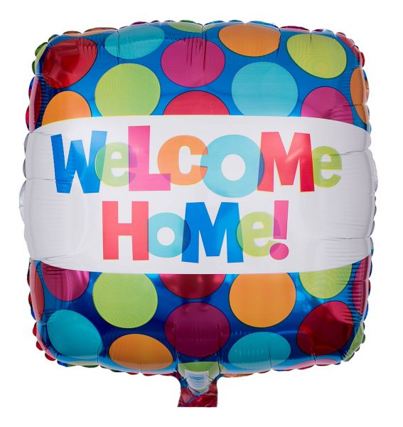 Folienballon Eckig Welcome Home Bunte Punkte 43cm