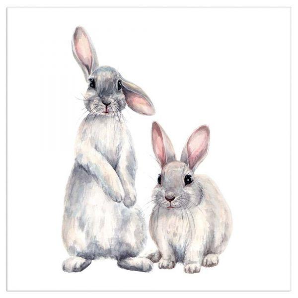 Servietten Hasenpärchen Weiß
