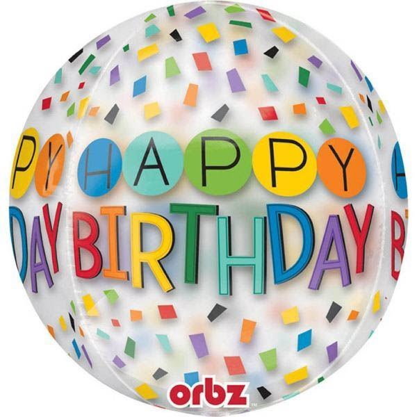 Orbz Ballon Happy Birthday Konfetti 40cm