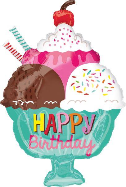 Folienballon Happy Birthday Eisbecher 38x58cm