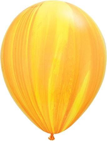Qualatex Ballon Marmoriert Gelb & Orange 30cm
