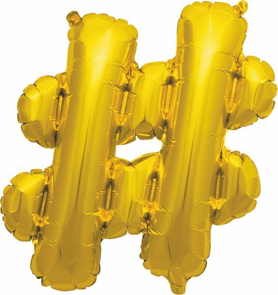 Luftballon Sonderzeichen Hashtag # Gold 40cm