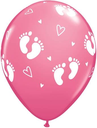 Qualatex Ballon Baby Füße & Herzen Rose 30cm