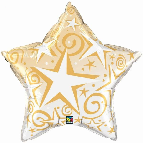 Folienballon Stern mit Sternen Gold 56 cm