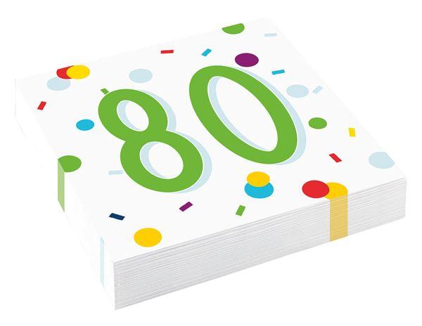 Confetti Birthday - 80. Geburtstag 20 Servietten