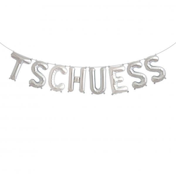 """Folienballon Girlandenset """"TSCHUESS"""" Silber"""
