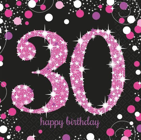 Sparkling Celebration Pink - 30. Geburtstag 16 Servietten
