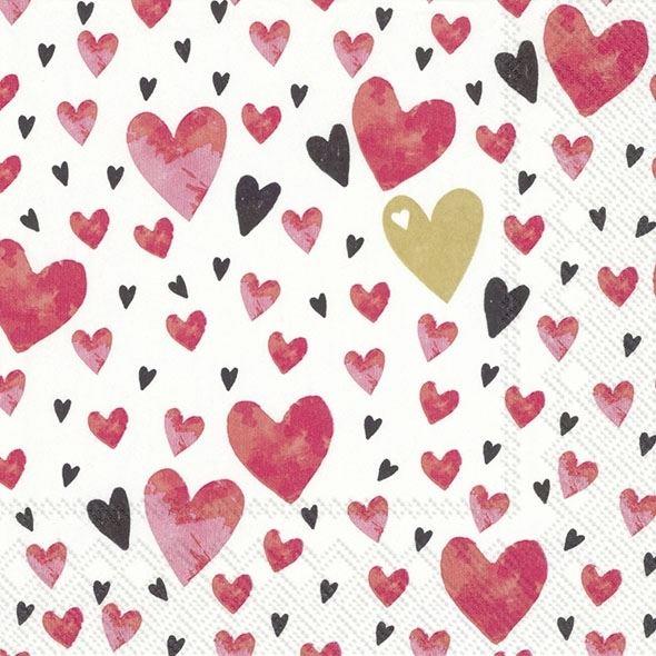 Liebe - 20 rote Herzchen-Servietten