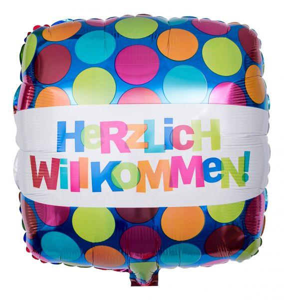 Folienballon Eckig Herzlich Willkommen mit bunten Punkten 43cm