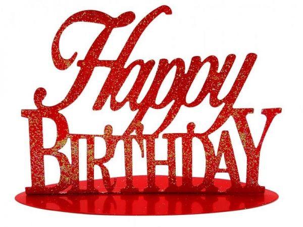 Metallständer Happy Birthday Rot