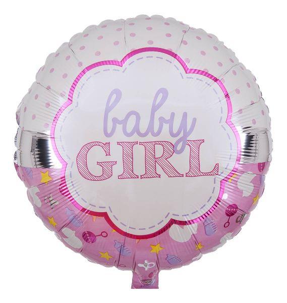 Folienballon Baby Girl Rosa & Weiß 43cm