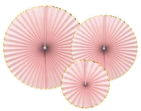 3 Dekofächer - Rosa mit Goldrand