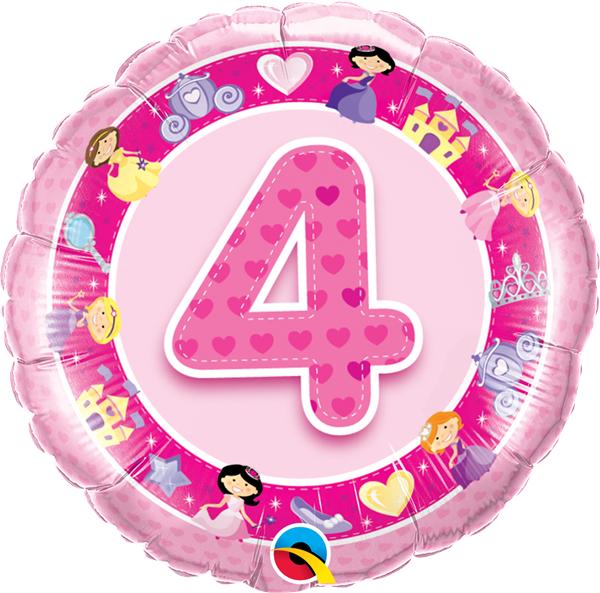 Folienballon 4. Geburtstag Prinzessinnen 45cm