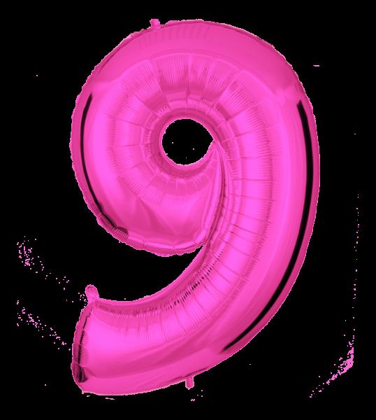 Folienballon Zahl 9 Pink 100cm