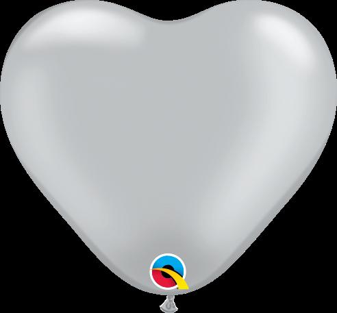 Qualatex Latexballon Herz Silver Ø 15cm