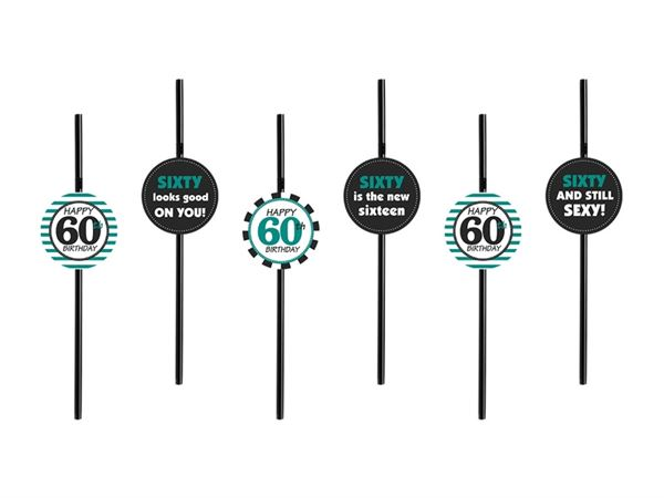 6 Strohhalme zum 60. Geburtstag