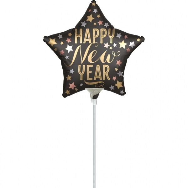 "Silvester-Ballon ""Happy New Year"" am Stab Satin Gold & Schwarz"
