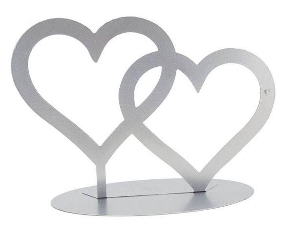 Metall Aufsteller Zwei Herzen Silber