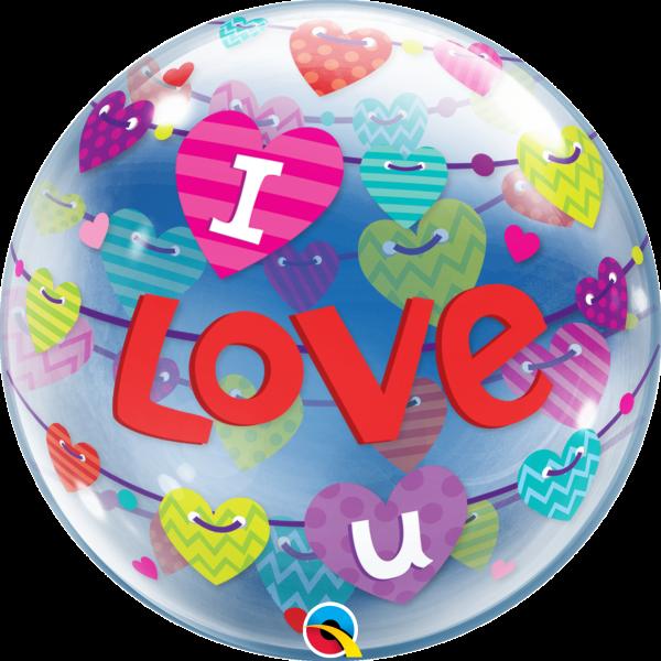 Bubble Ballon I Love U Herzengirlande 56cm