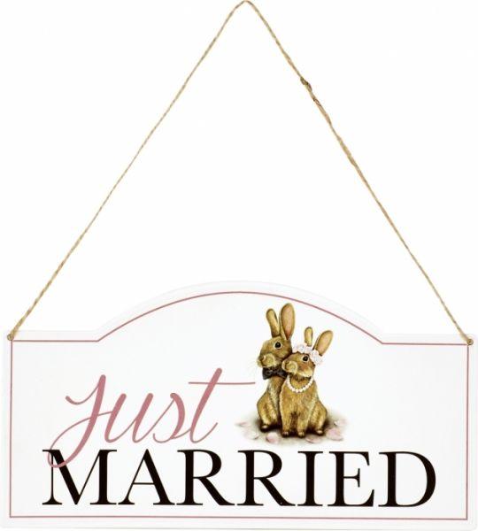 """Häschen-Hochzeit - Metall Türschild """"Just Married"""""""