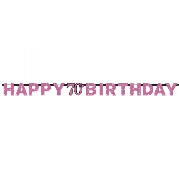 Sparkling Celebration Pink - Happy Birthday 70 Holo Girlande