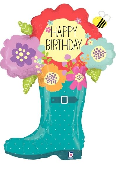 Folienballon Happy Birthday Regenstiefel 94 cm