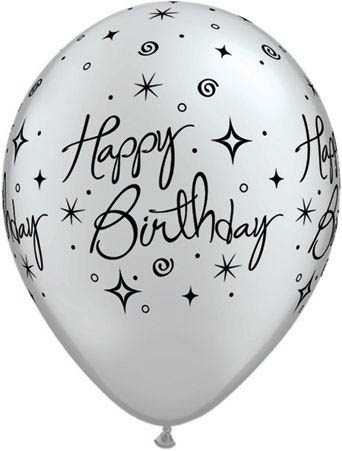 Qualatex Ballon Happy Birthday Funkeln Silber 30cm Geburtstag
