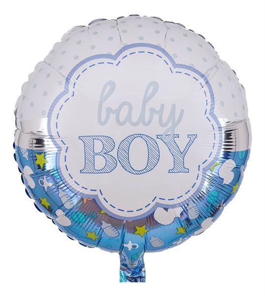 Folienballon Baby Boy Blau & Weiß 43cm