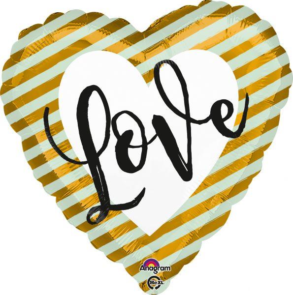 Folienballon Herz Love Mint-Gold-Gestreift 43 cm