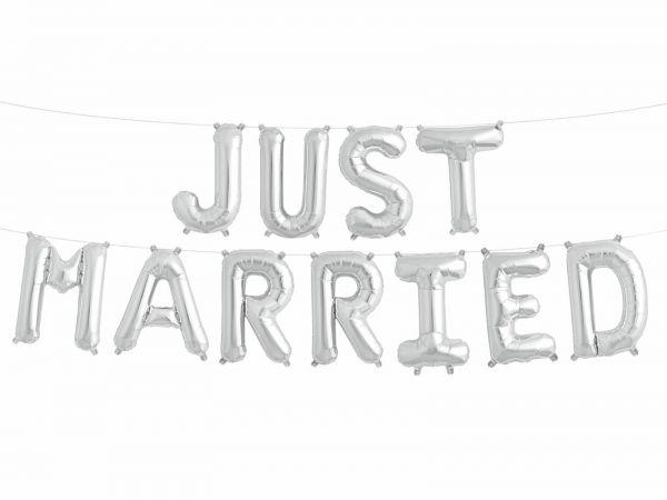 """Folienballon-Girlande """"JUST MARRIED"""" Silber"""