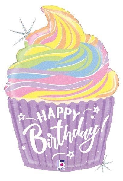 "Folienballon Cupcake Pastell ""Happy Birthday"" 69cm"