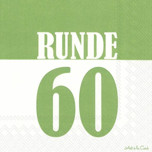 Runde 60 - 20 grüne Geburtstags-Servietten