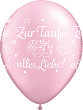60 cm ca Herzballon Folienballon Zur Taufe alles Liebe Mädchen rosa gelb