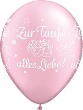 """Qualatex Latexballon """"Zur Taufe alles Liebe!"""" Pearl Rosa Ø 30cm"""