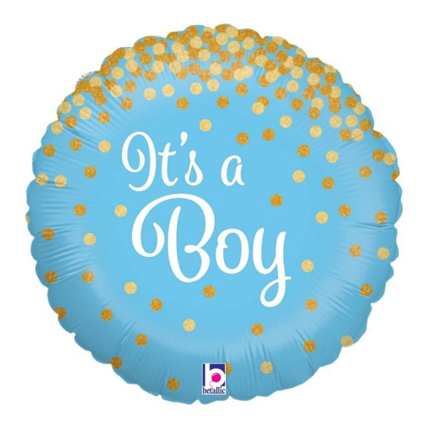 Folienballon Glitzer It's A Boy 45cm